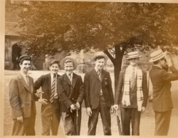 This photograph was sent in by John G. POUND(OH ' 56 - ' 59) nicknamed Lenny and is believed to have been taken at the end of the school academic year, when boys had a chance to relax and let their hair (and headgear !) down after sitting their exams.